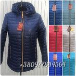 54-70рр Женская демисезонная куртка удлинённая куртка с капюшоном больших размеров