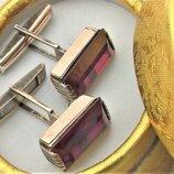 Запонки серебро Ссср 875 проба 9,19 грамма камень рубин