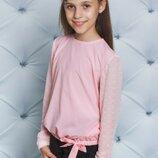 Блузка школьная нарядная с рукавом сеткой три цвета
