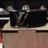 Кожаный ремень в стиле Louis Vuitton, Луи Виттон, унисекс