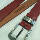 Кожаный красный ремень в стиле Louis Vuitton, Луи Виттон, унисекс