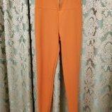 Терракотовые брюки зауженные к низу с завышенной талией и на широком поясе Boohoo Англия