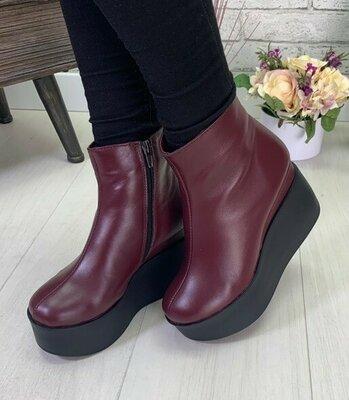 Бордовые замшевые зимние ботинки на платформе