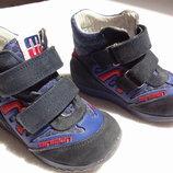 Minimen. Кожаные осенние ботинки на липучках. 15 см стелька