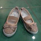 Нарядные тапочки для девочки, текстильные туфли, туфельки Турция