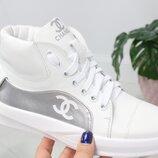 Женские высокие кроссовки Chanel натуральная кожа