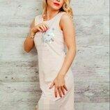 Летнее розовое трикотажное короткое платье