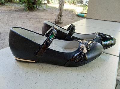Школьные туфли для девочки, черные школьные туфли девочка 21,5см, 22 см