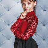 Блузка гольф нарядная для девочек с гипюром