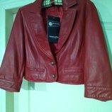 Кожаная натуральная красная куртка лайка нат кожа
