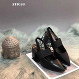 Трендовая Модель Шикарные Туфли-Босоножки Черные И Пудра