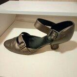 итальянские туфли на каблуке, коричневые, 40