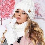 Теплый комплект «Агнес» шапка, хомут и перчатки Артикул 4633-37