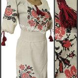 42-54, Платье вышиванка, лен. Платье этно. Женкая вышиванка. сукня вишиванка