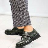 Туфли с ремешком, натуральная кожа, олива