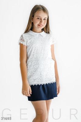Блуза школьная белая классическая 128-146 см.