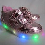 Светящиеся кроссовки для девочки, розовые кроссовки с подсветкой