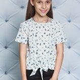 Блузка для девочки узор короткий рукав три цвета