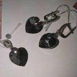 Комплект подвеска и Серьги - сердечки с камнем Swarovski, серебро 925 Серьги 390 грн Замок англи