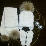Зимний комплект шапка, шарф, варежки