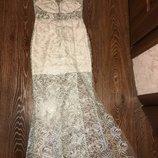 Невероятное вечернее нарядное платье в пол кружево с открытой спинкой