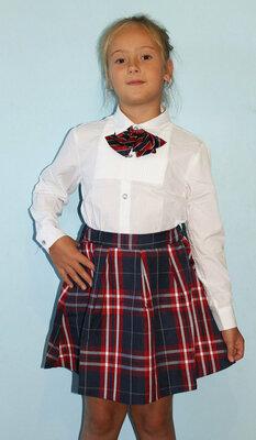 Блузка белая для девочки с галстуком