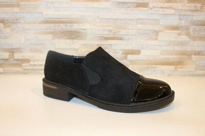 Туфли черные замшевые с лаковым носочком Т309