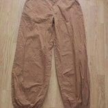 Котоновые горчичные брюки с манжетами