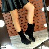 Женские черные полу сапоги, ботинки Натуральная кожа, замш Зима Деми