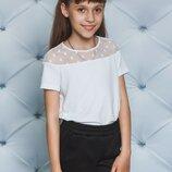 Футболка блуза трикотажная с сеткой для девочек два цвета