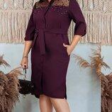 Платье рубашка XL габардин сетка флок черный баклажан бежевый серый