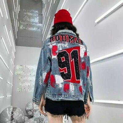 Женская джинсовая куртка рванка Rodman 91 голубая