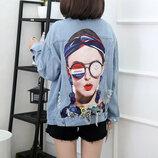 Женская джинсовая куртка Solid Wood с принтом и бантом на спине голубая