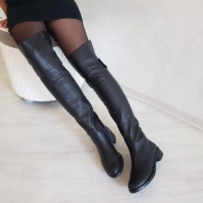 Новинка Шикарные натуральные кожаные женские ботфорты сапоги Разные цвета 35,36,37,38,39,40,41