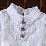 Очень качественная блузка в школу с прошвой