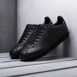 Как оригинал. Бесплатная доставка. Кожаные кроссовки Nike Cortez черные KS 1156