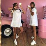 женское свободное платье с плиссировкой пк 5921