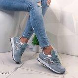 Женские кроссовки New Balance серые и голубые, замшевые