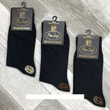 Носки мужские хлопок вышивка Pier Luigi, Турция, без шва, 45-47 р.12 пар, чёрные,Турция.