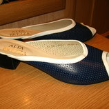 Пантолеты синие кожаные