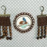 брошь птица серьги вязаные комплект серьги бусы коричневые голубая птица