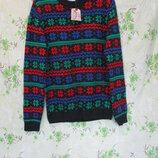 Красивый свитер с зимним/новогодим узором/принт снежинки