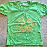 Салатовая футболка на 104-110 рост