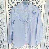 Крутецкая школьная блузка бело-голубого цвета с пуговицами как карамель на р140/146