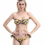 Желтый купальник бандо плавки на завязках 2024