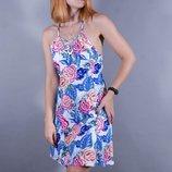 Летний сарафан белый, короткий сарафан на тонких бретелях, летнее платье
