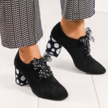 Туфли, натуральная замша, на среднем каблуке, черные