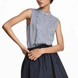 Блузка без рукавов H&M XS и S полоска хлопок голубой белый