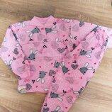 Пижама с начесом для девочек 2-6 лет