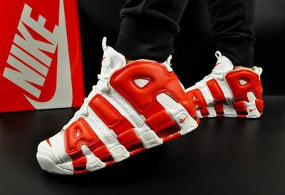 мужские кроссовки Nike Air More Uptempo 41-46р белые с красным